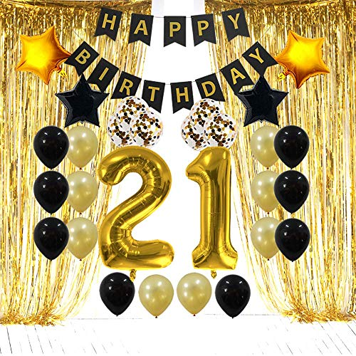 21st Birthday Decorations Gifts for Her Him(Men Women) - 21 Birthday Party Supplies Happy Birthday Banner, Gold Foil Fringe Curtains, 21 Gold Number Balloons and Confetti Balloons]()
