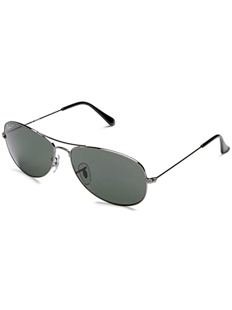 866dc261ec5 Ray-Ban Men s Polarized Cockpit RB3362-004 58-59 Silver Aviator Sunglasses   Ray-Ban  Amazon.ca  Clothing   Accessories