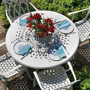 Lazy Susan Amy Blanca 120 cm Redonda Muebles de jardín Set – 1 Blanco Amy Mesa + 4 sillas Blancas de Mary: Amazon.es: Jardín