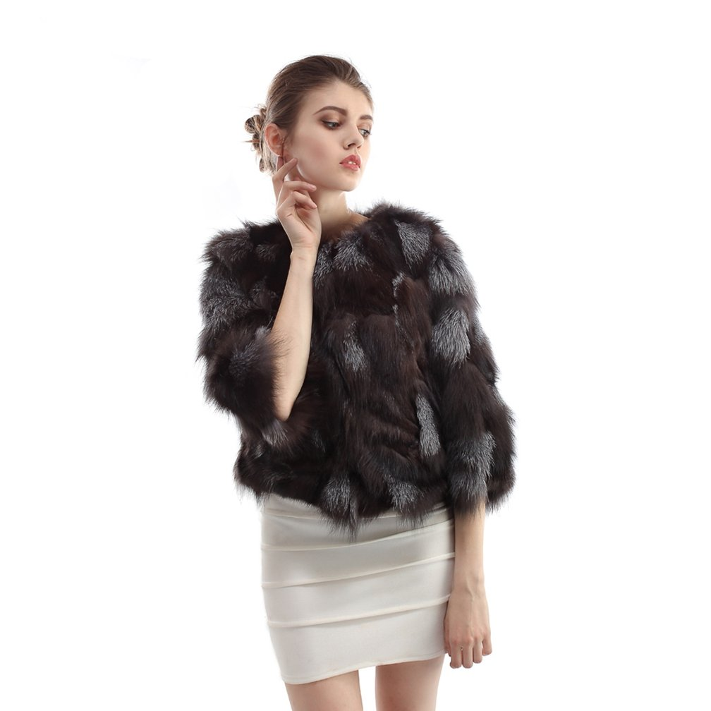 OLLEBOBO Women's Coat For Winter Genuine Fox Fur Knitted Coat without Belt Size 2XL Black by OLLEBOBO (Image #4)