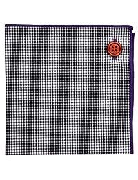 Pañuelo de bolsillo 100% algodón, color negro y blanco c/ borde purpura , colección de botones