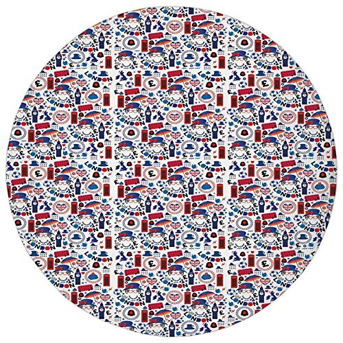 Round Rug Mat Carpet,London,Pattern with London Symbols Queen Elizabeth Umbrella Tea Party Map Travel Theme Decorative,Multicolor,Flannel Microfiber Non-slip Soft Absorbent,for Kitchen Floor Bathroom