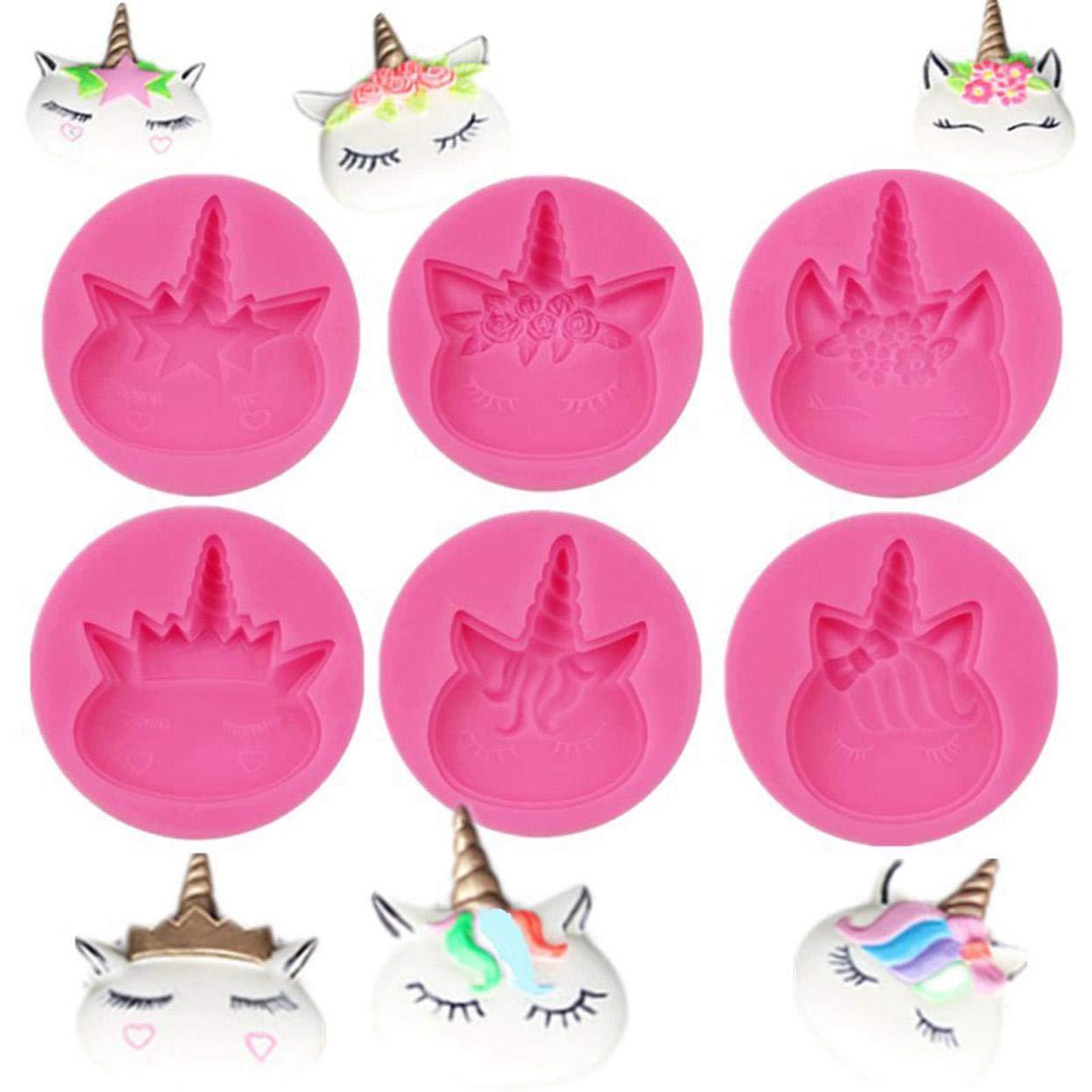Style03 FUdeza con Estilo 3D Unicornio Silicona Fondant Molde Pastel Cabeza Animal Cuerno Flor Horneado Glaseado Molde para Decoraci/ón Hogar