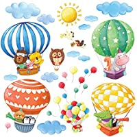Decowall DA-1406B Animal Hot Air Balloons Kids Wall...
