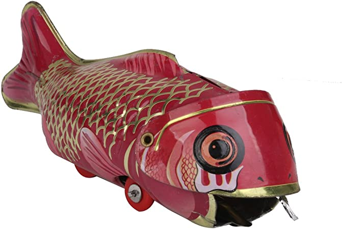 Vintage Tin Toys Wind Up Whale Eating Fish Metal Robot Toy Collectable Craft Home Kitchen