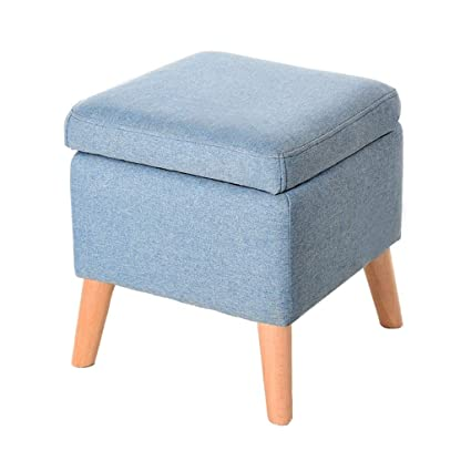 Foot Stool Change Shoe Stool Storage Box Cube Pouffe Chair Square Ottoman  With Lid Removable Linen
