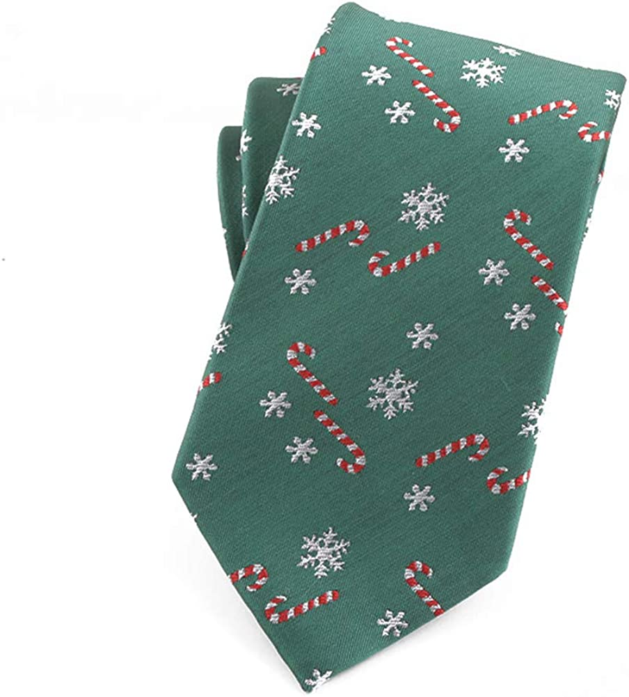 Christmas Ties for Men Polyester Silk Ties Xmas Pattern Jacquard Neckties