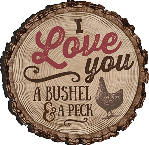 I Love You A Bushel And A Peck Chicken Rustic Bark Look Wood Circle Magnet (Magnets Chicken Refrigerator)