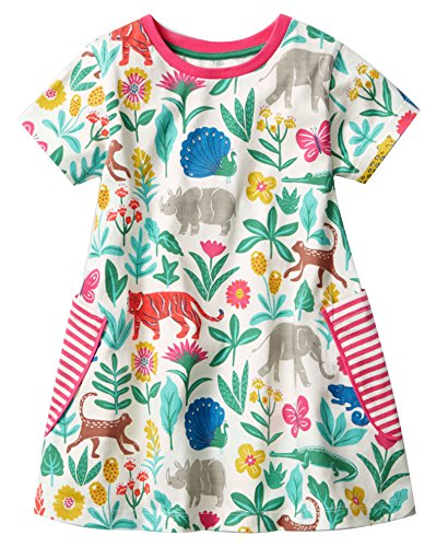Fiream Girls Summer Cotton Casual Flower Dresses Shortsleeve (20001tz,6T/6-7YRS)