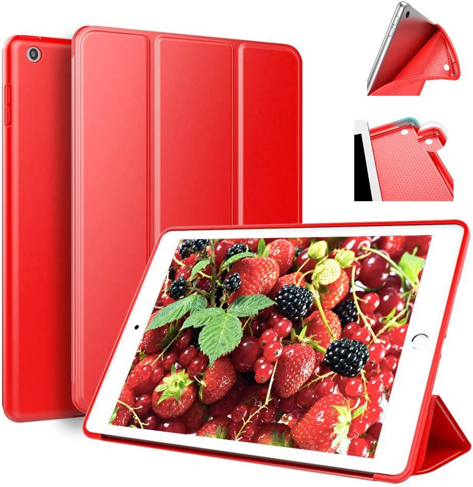 Aoub Case for iPad 6th/5th Generation 2018/2017 9.7 inch, Trifold Stand Ultra Leightweight Soft TPU Smart Cover with Auto Wake/Sleep for Apple iPad Model A1893/A1954, A1822/A1823, Red