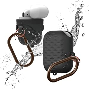 elago Waterproof Hang Active Case [Black] - [Compatible with Apple AirPods 1 & 2][Supports Wireless Charging][Waterproof][Dust Proof][Added Carabiner]