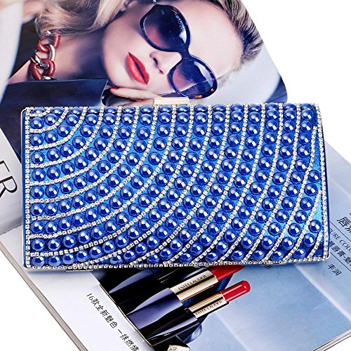 Pearl Evening Purse Women Clutch blue Faux Fashion Cascading Bead TuTu Rhinestone Bags Evening w1CHIxqB