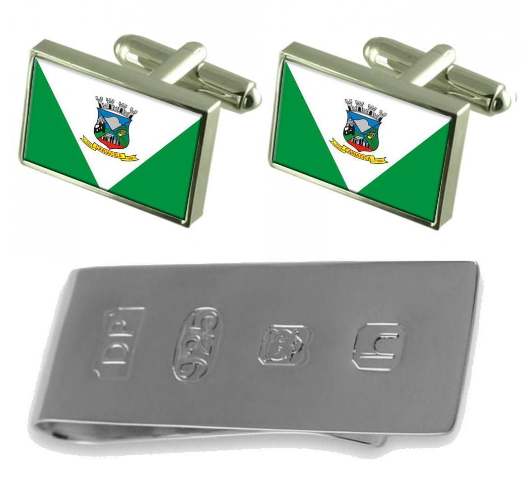 Cariacica City Espirito Santo State Flag Cufflinks & James Bond Money Clip