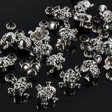 RUBYCA 100 Sets Silver Color Skull Cross-Bone Rapid