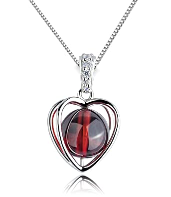 Sterling silver womens love heart rotating red garnet pendant sterling silver womens love heart rotating red garnet pendant necklace mozeypictures Gallery