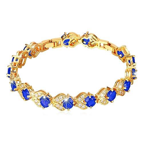48ae99a734a0a0 U7 Women Fashion Crystal Birthstone Gemstone Sapphire Jewelry 18K Gold  Plated Link Blue Cubic Zirconia Tennis