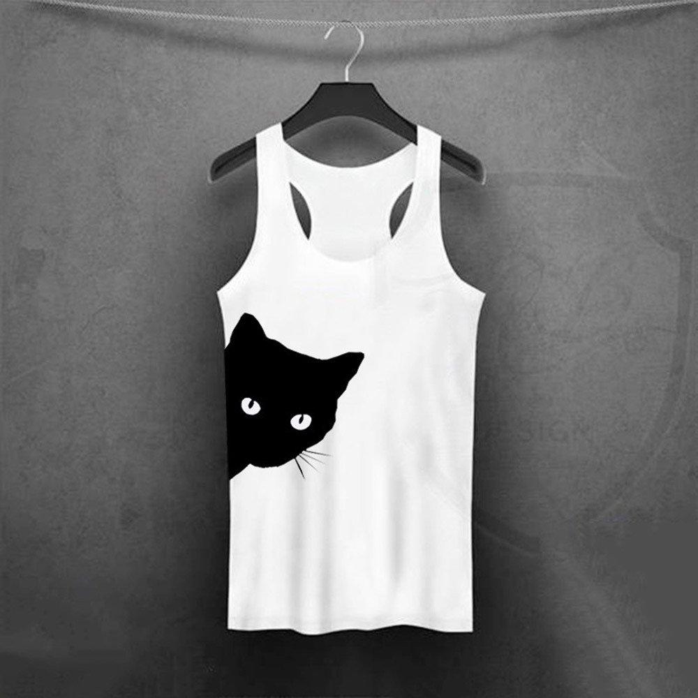 ❤️ Camisas Mujer,Modaworld Moda Blusa sin Mangas con Estampado de Gatos de Mujer Camiseta sin Mangas Crop Tops ni/ña Blusa Casual Verano Chaleco sin Tirantes
