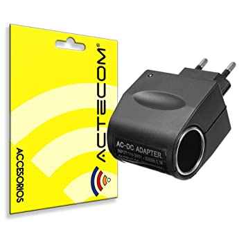 ACTECOM Enchufe Convertidor AC 220V a DC 12V 0,5A mechero de coche a pared