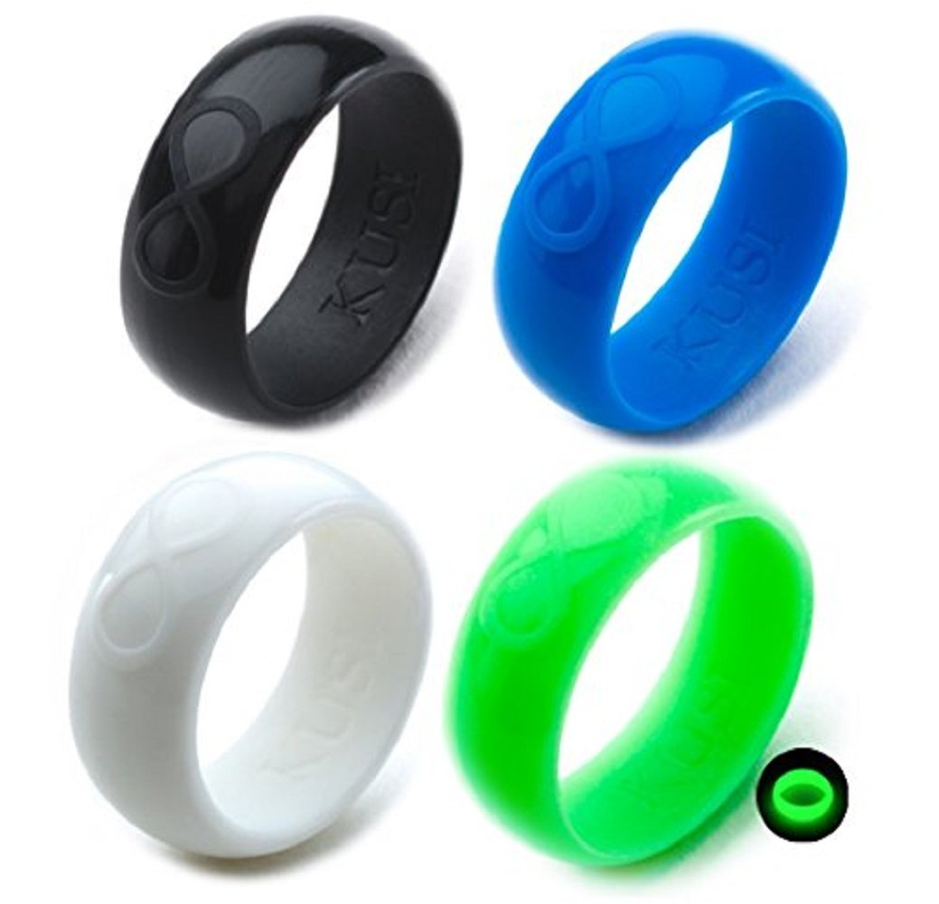 KUSI Silicone Wedding Ring Set for Men, Size 11, Black, Green Glow in the Dark, White, Blue, Silicone Band 4 Pack Rings