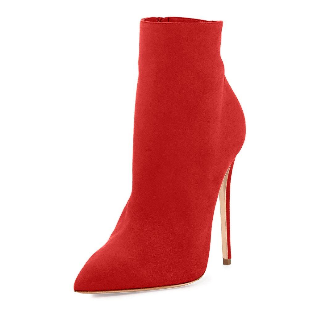 Joogo Pointed Toe Ankle Boots Size Zipper Stiletto High Heels Party Wedding Pumps Dress Shoes for Women B077NJTL9V 12 B(M) US|Red