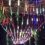 SurLight Falling Rain Lights Meteor Shower Lights Rain Drop Lights Christmas Lights 30cm 8 Tube 144 LEDs, Cascading Icicle Lights, Snowfall Lights for Christmas Tree Holiday Decor (Multi Color)