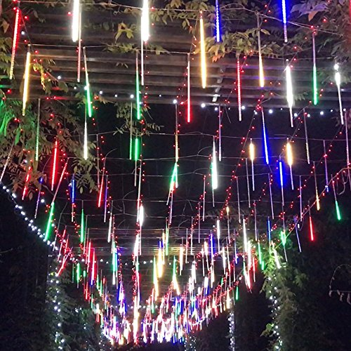 SurLight LED Falling Rain Light with 30cm 8 Tube 144 LEDs, Meteor Shower Light, Falling Rain Drop Christmas Light, Icicle String Light for Holiday Party Wedding Christmas Tree Decoration(Multicolored) (Tree Decoration Sale Christmas)