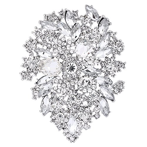 (EVER FAITH Women's Crystal Vintage Style Flower Leaf Cluster Brooch Pendant Clear Silver-Tone)