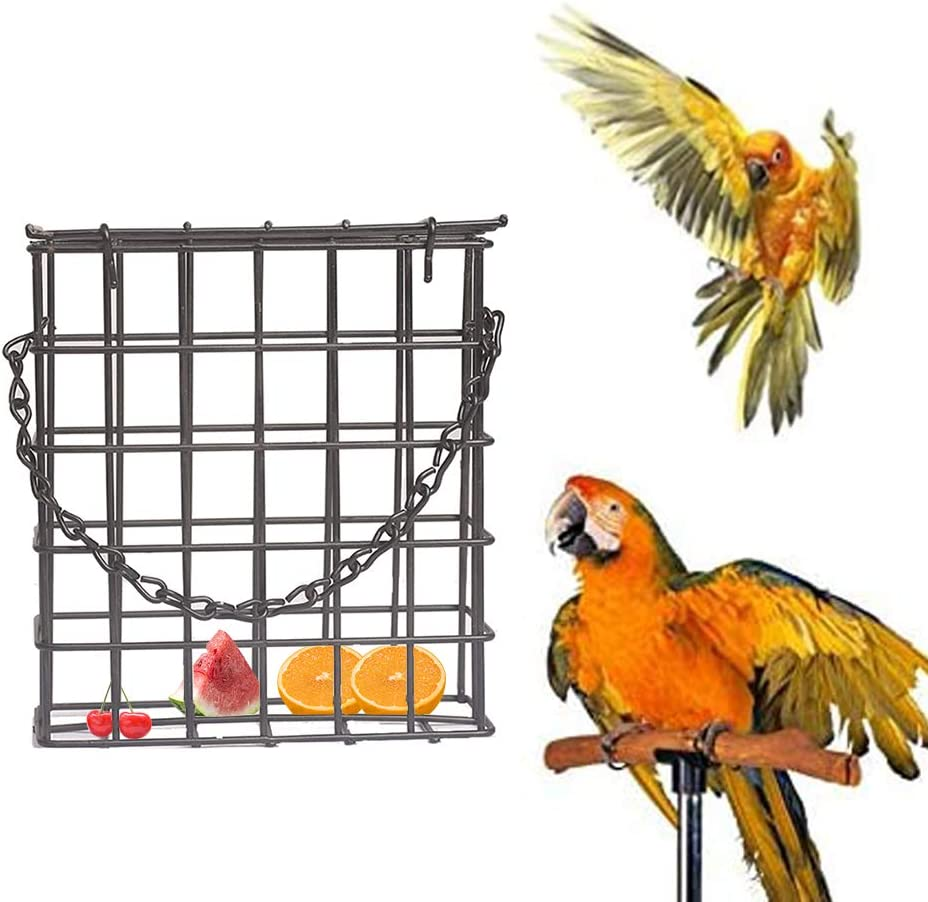 Wosiky Comedero para pájaros de Alambre de Acero, comedero para pájaros Birdhouse Jaula de Cubos Comedero para pájaros Colgante para pájaros Salvajes