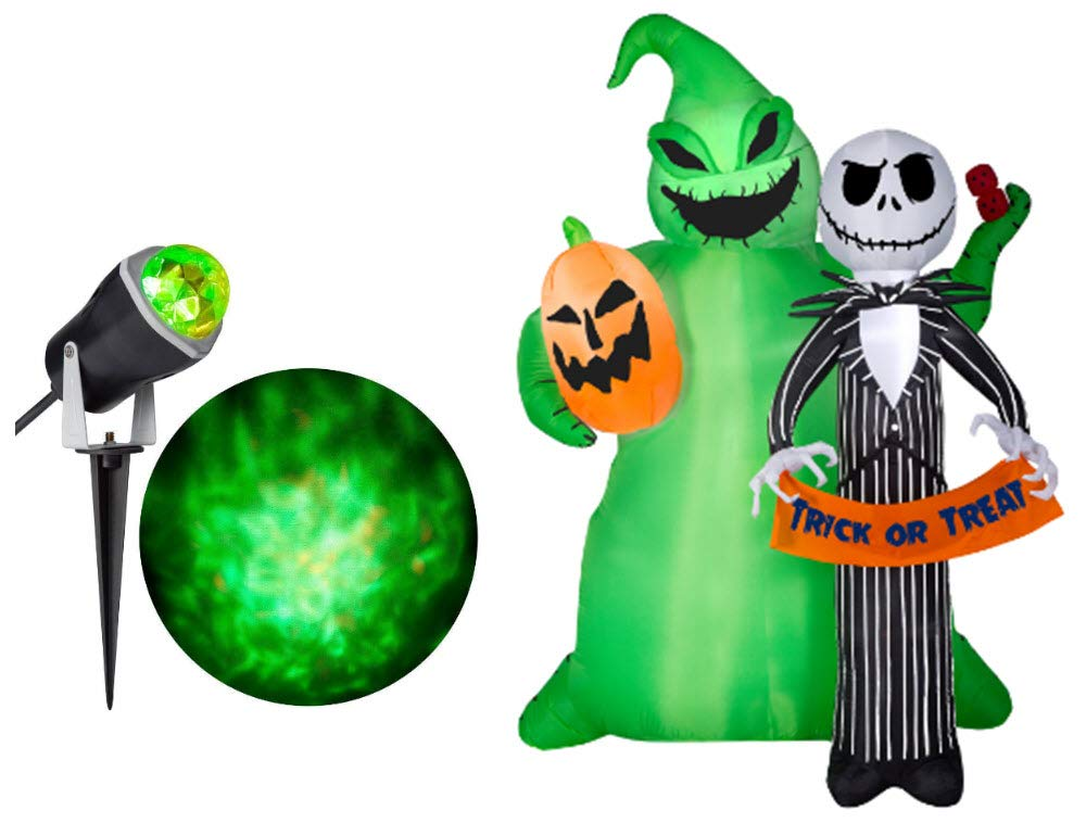 Halloween Inflatable Jack Skellington & Oogie Boogie Trick or Treat Yard Decor & Green/Orange Projection Spotlight Bundle