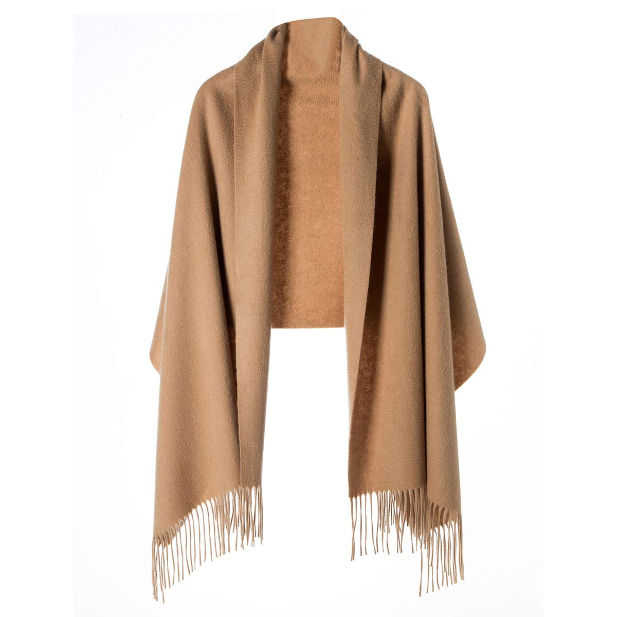Cashmere Wrap Shawl for Women | Authentic 100% Pure Cashmere Extra Large (75inx25.6in) Scarf, Camel by KROWN CASHMERE