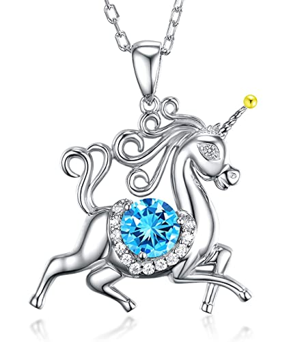 Valentines Day Gifts for Her Unicorn Necklace Blue Aquamarine March Birthstone Animals Swarovski Necklace Anniversary Birthday  sc 1 st  Amazon UK : jewellery gifts for her - princetonregatta.org