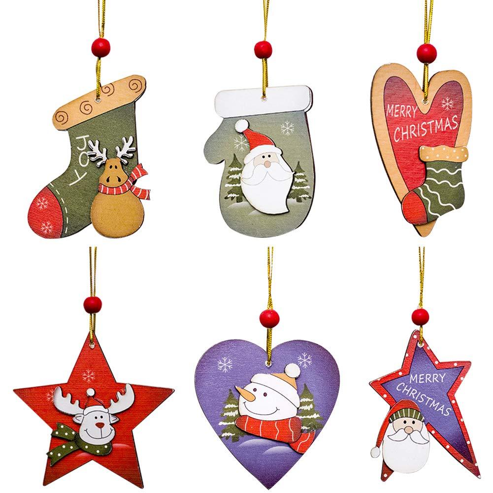 SEGRJ 6pcs Babbo Pupazzo di Neve Albero di Natale con Perline di Legno Appeso Ciondolo Tag Finestra Decorazione Multi