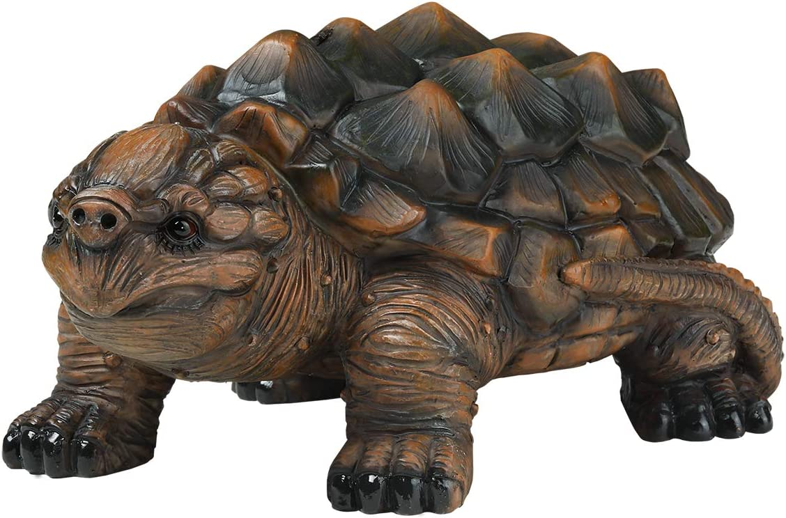 "LYASI Snapping Turtle Garden Decor Animal Statue, 10""x7""x3"" Inch, Full Color, Family Outdoor Patio Yard Decorations (10 Inch-Snapping Turtle)"