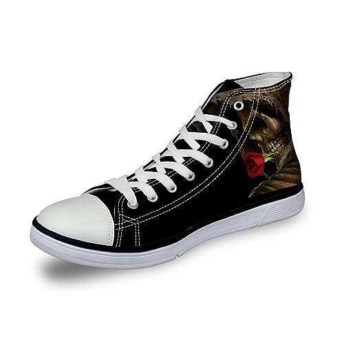 Coloranimal Women Fashion Canvas Shoes Skull Prints High Top Walking Sneakers B0778TQ8PY