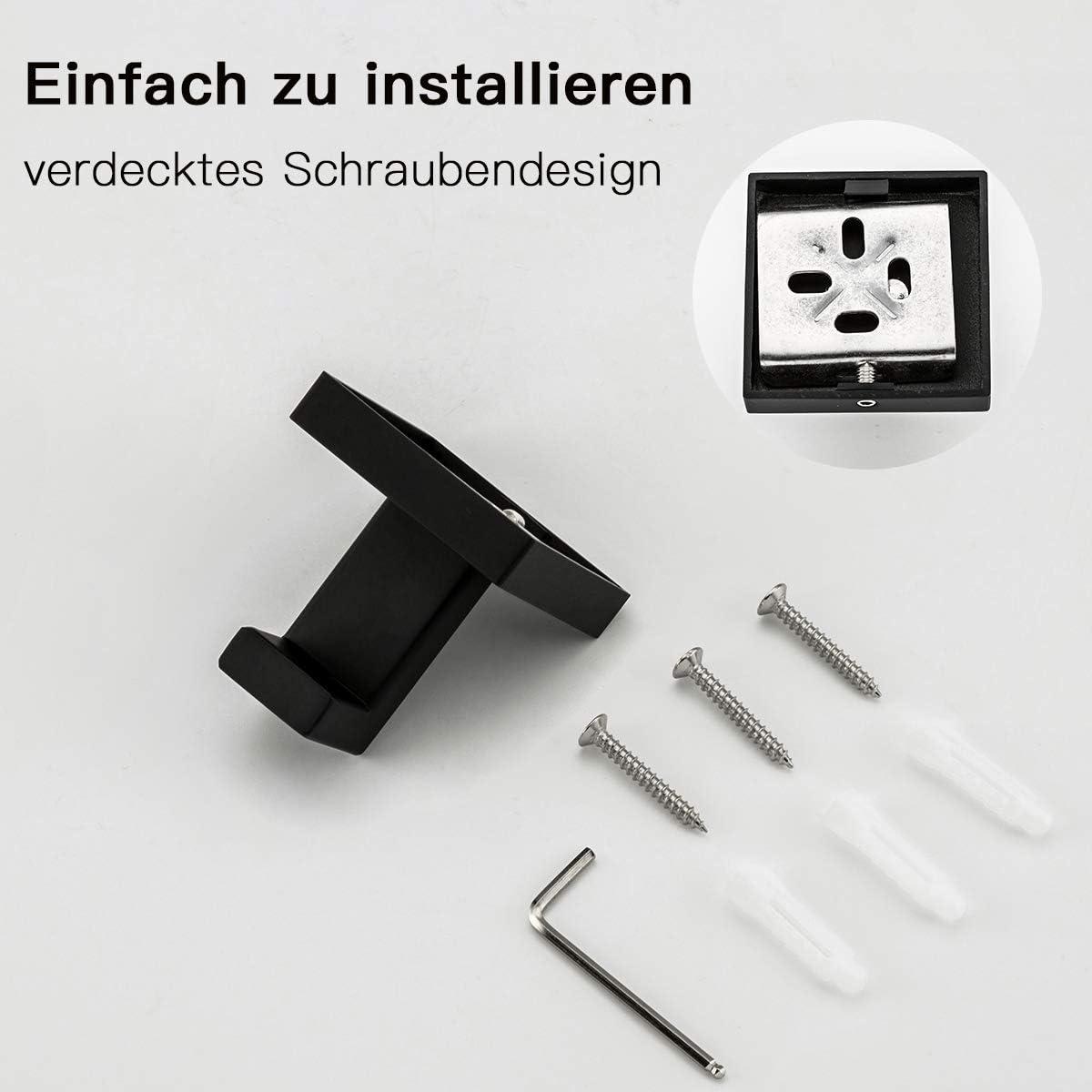 Schwarz Kleiderhaken GAPPO Wandhaken Handtuchhaken 304 Edelstahl Rostfrei Gebohrt Bad und K/üche Handtuchhalter