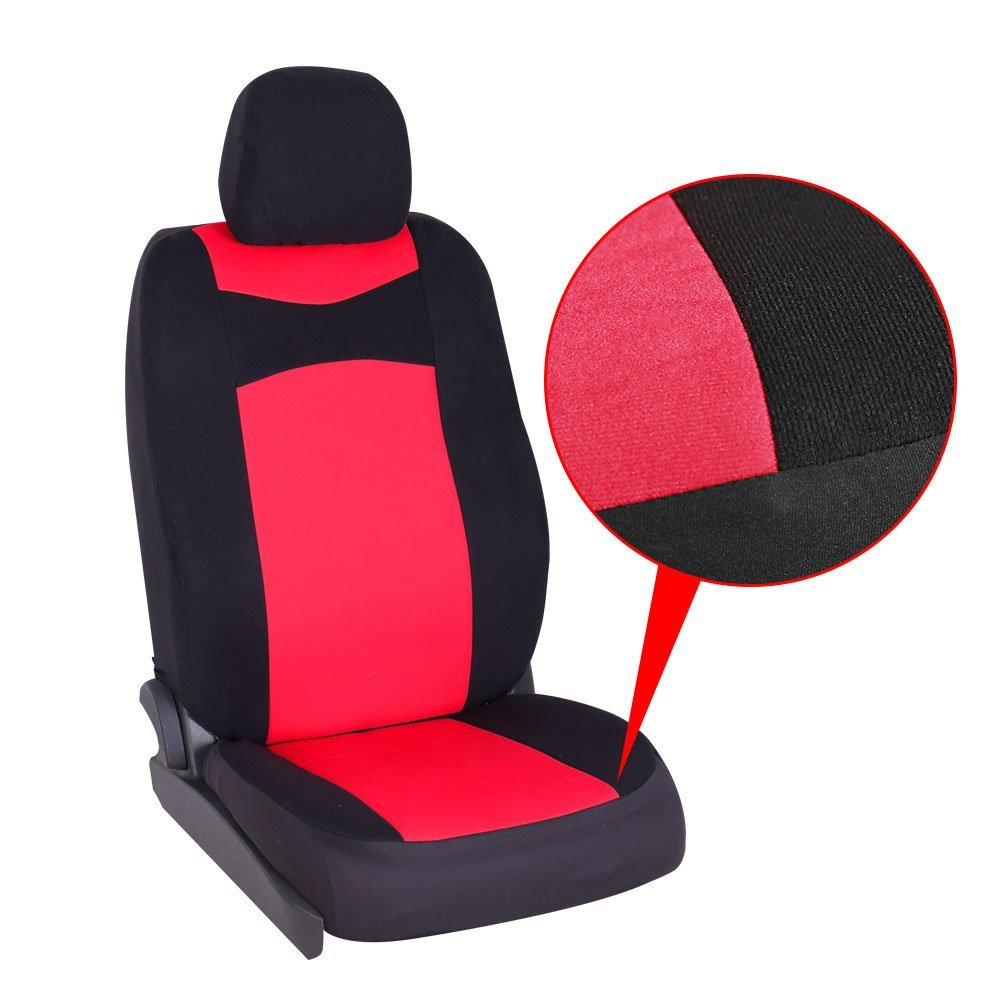 red Rownfur Car Seat Cover polyester cloth Bucket Set for Car Weixian Korona Auto Accessories co ltd Gray//Black Truck SUV Van