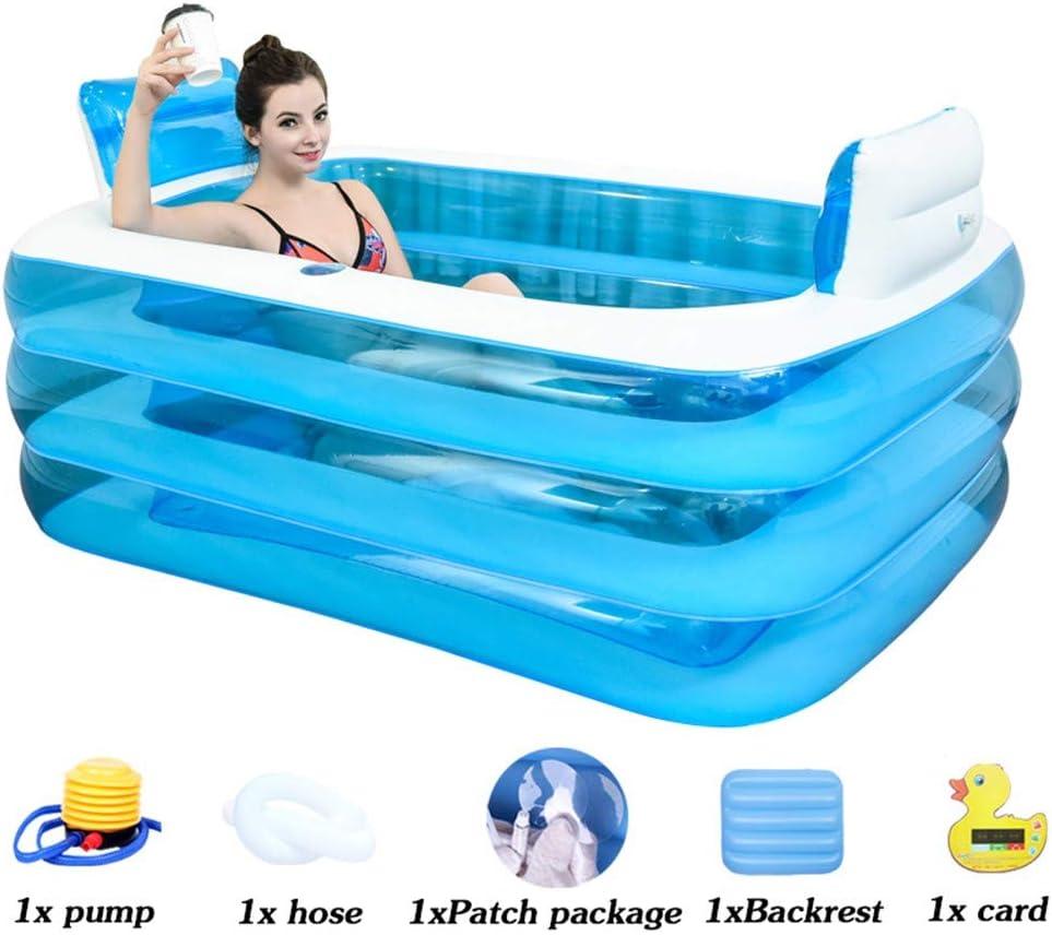 FuAo Bathtub Gruesa Bañera Inflable, Bañera De PVC para Adultos, Bañera De Plástico Plegable, Jacuzzi Hinchable, Bañera Plegable De Verano, Cubo(145 * 105 * 50cm)