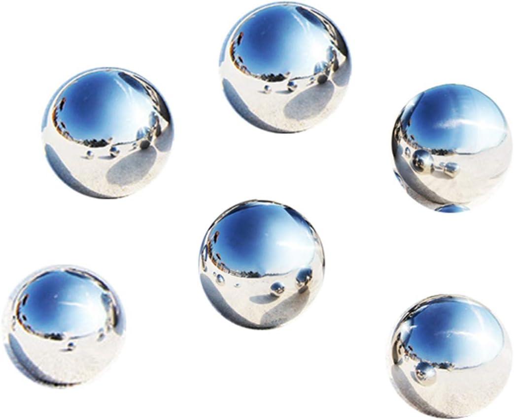 LANUCN Bolas de Jardín de Espejo de Césped de Metal, Acero Inoxidable Plateado Bolas para Decoración del Hogar, Hueco (5cm x 6pcs)