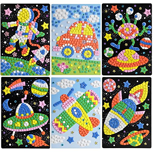 Finduat Mosaic Sticker Art Sticky Diy Handmade Art Kits for Kids - Astronaut, Alien, Car, UFO, Spaceship, Airplane (6 Pack)