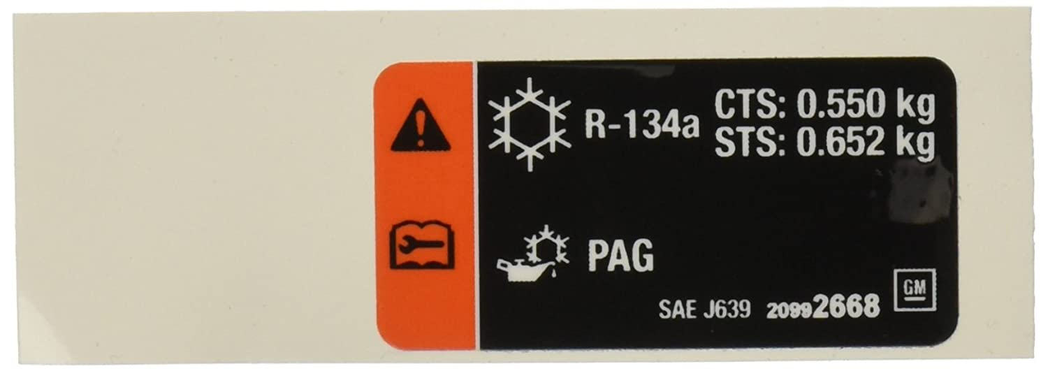 Genuine GM 20992668 Air Conditioning Refrigerant Charge Label