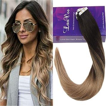 fc136810c44 LaaVoo 16 Pouce Extension Cheveux de Couleur Brun Fonce Balayage Ombre  Cendre Blonde Adhesive Cheveux Bande