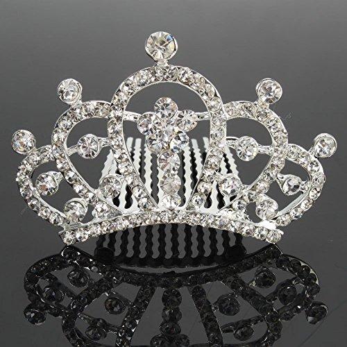 Mefeir Mini Charming Rhinestone Tiara Crown Headband Comb Pin #006