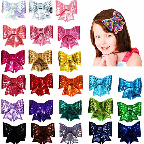 - 25Pcs 3'' Sparkle Sequin Cheer Bows Baby Girl Hair Bows with Clips For Infants Toddlers