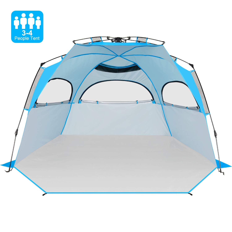 Victostar 簡単セットアップビーチテント XL 自動ポップアップ インスタントサンシェルター 家族 アウトドア ビーチ キャンプ用 XL With Extendable Floor  B07MWSMQBY