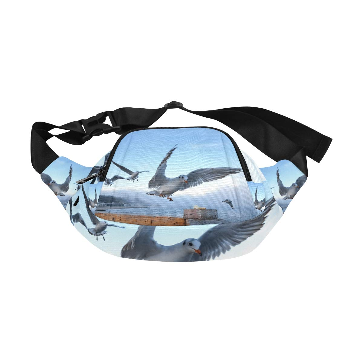 Gulls Flying Above Body Of Water Fenny Packs Waist Bags Adjustable Belt Waterproof Nylon Travel Running Sport Vacation Party For Men Women Boys Girls Kids