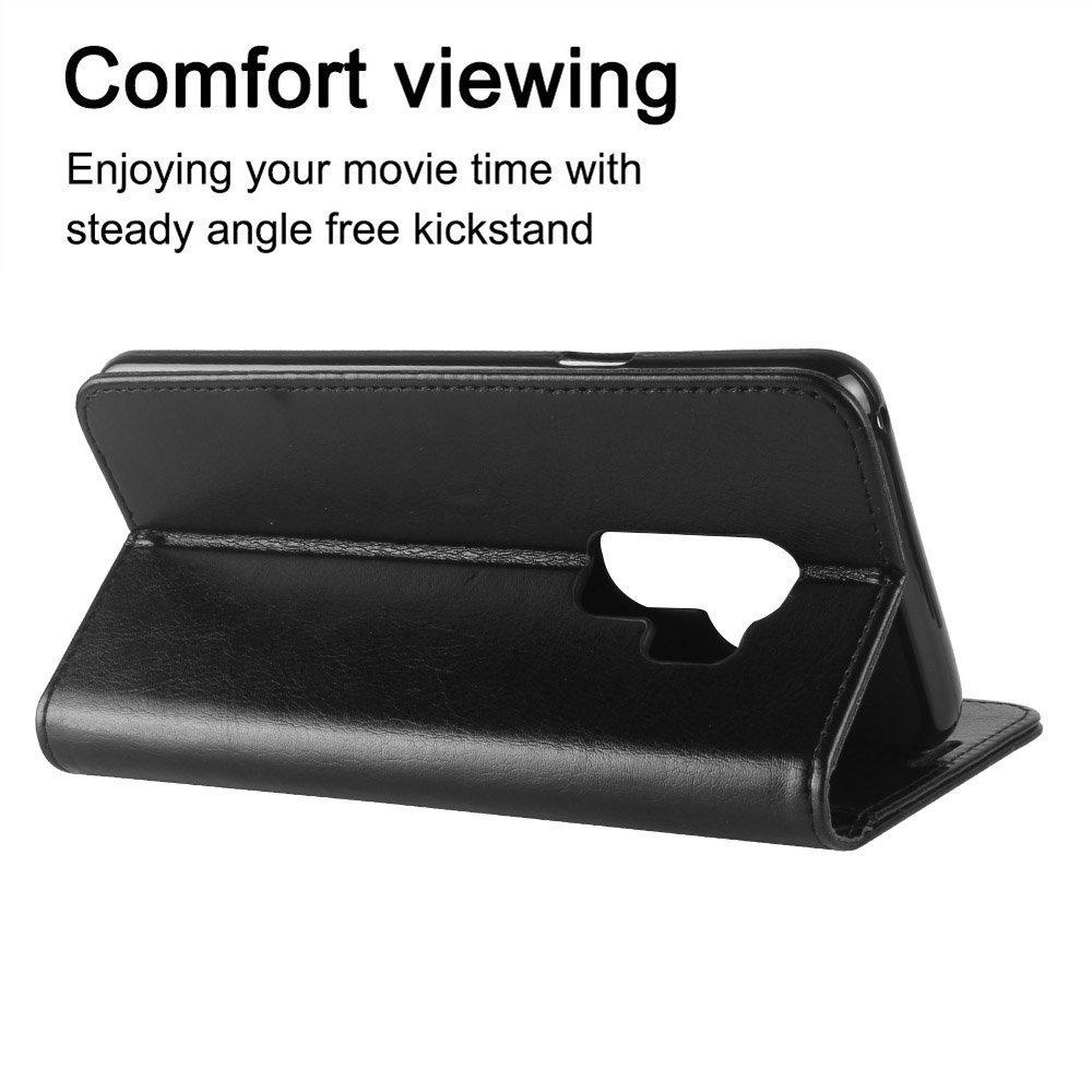 AROC Schutzhülle Samsung Galaxy S9, Brieftasche aus Hochwertigem Leder PU Schutzhülle für Handy, ultradünn und Multifunktional, Rundumschutz (Schwarz)
