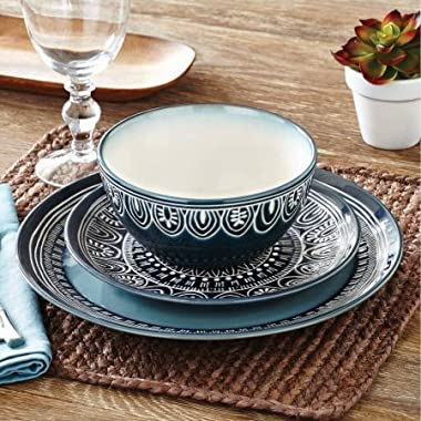 Teal Medallion 12-Piece Dinnerware Set, Teal