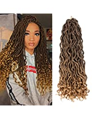 NAYOO 6Packs 18inch Goddess Locs Crochet Braiding Hair wavy Faux Locs with curly end Hair Extensions Deep Faux Locs Twist Braids