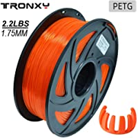 PETG 3D Printer Filament 1.75mm, Diameter Tolerance +/- 0.05 mm, 1 KG (2.2lbs)Spool, 1.75 mm PETG filament for 3D printer (Transparent Orange)