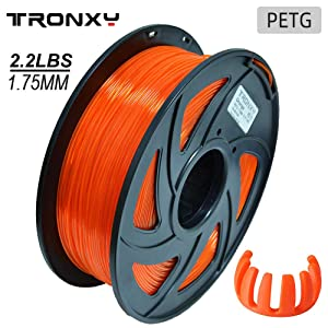 PETG 3D Printer Filament 1.75mm, Diameter Tolerance +/- 0.05 mm, 1 KG (2.2lbs)Spool, 1.75 mm PETG Filament for 3D Printer (Transparent Orange)
